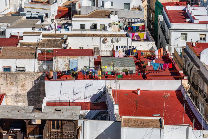 View of the old city rooftops from tower Tavira in Cadiz, Andalusia, Spain. Panoramic View of the old city rooftops from tower Tavira in Cadiz, Andalusia, Spain royalty free stock photo