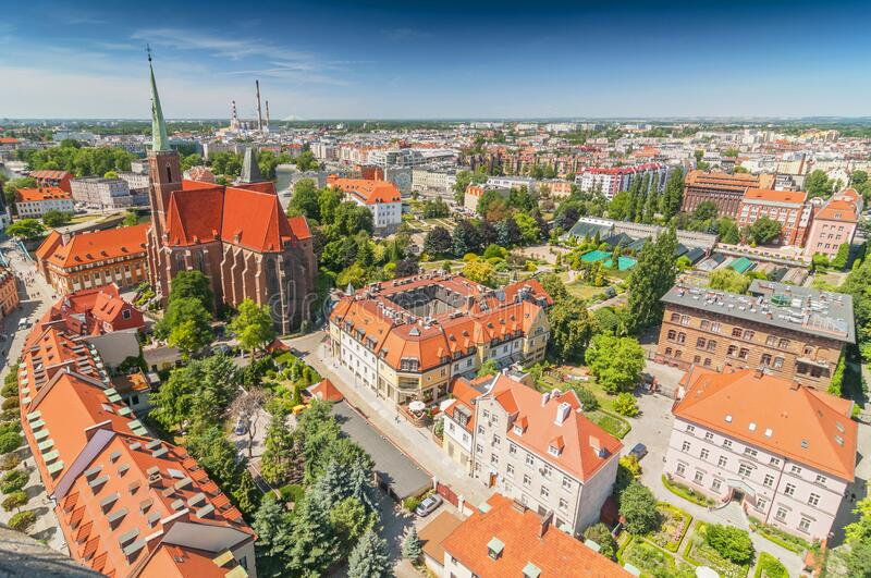 Panoramic view of the old city from St. Johns cathedral tower, Cathedral Island, Wroclaw, Poland.  stock photo