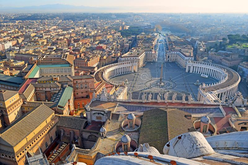 Panoramic view of old city and St. Peter`s Square in Rome, Italy. Panoramic view of old city and St. Peter`s Square from the height of the dome of St. Peter`s stock image