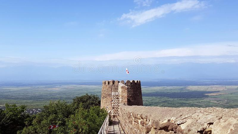 Panoramic view on Old city wall from stones with tower round a city Sighnaghi, Kakheti region, Georgia stock image