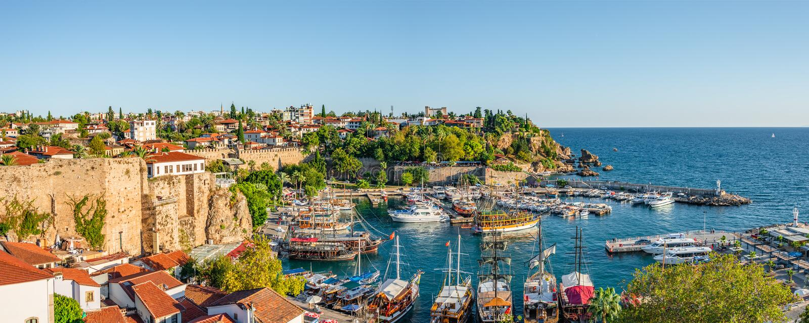 Panoramic view of old harbor and downtown called Marina in Antalya, Turkey, summer royalty free stock photos