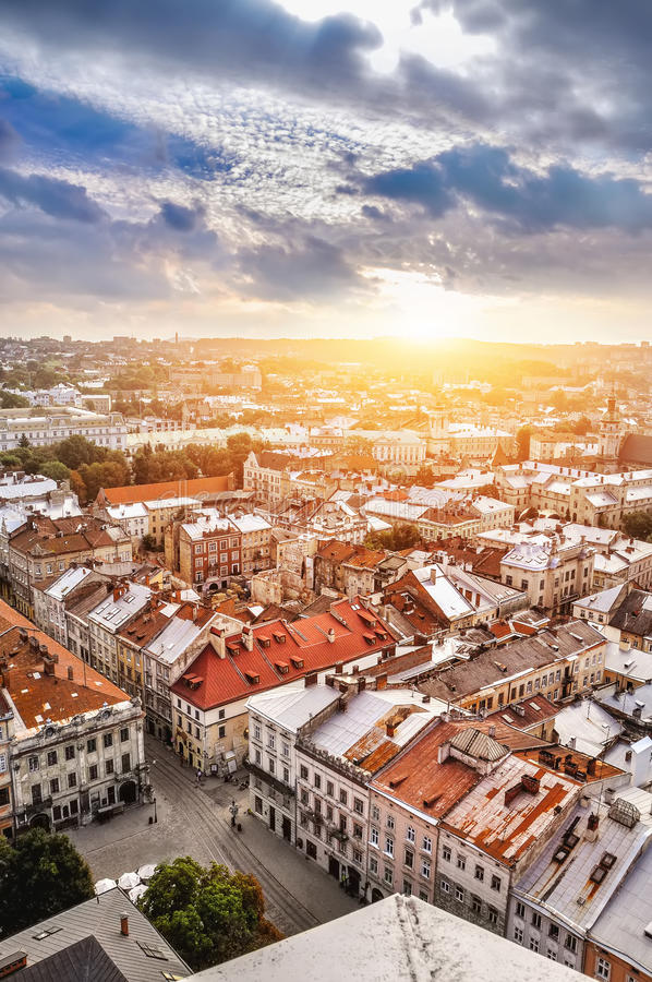 Panoramic view of Old Lviv royalty free stock images