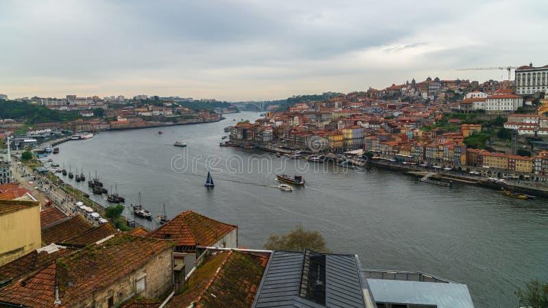 Panoramic view of Old Porto Oporto city and Ribeira over Douro river from Vila Nova de Gaia, Portugal royalty free stock photography