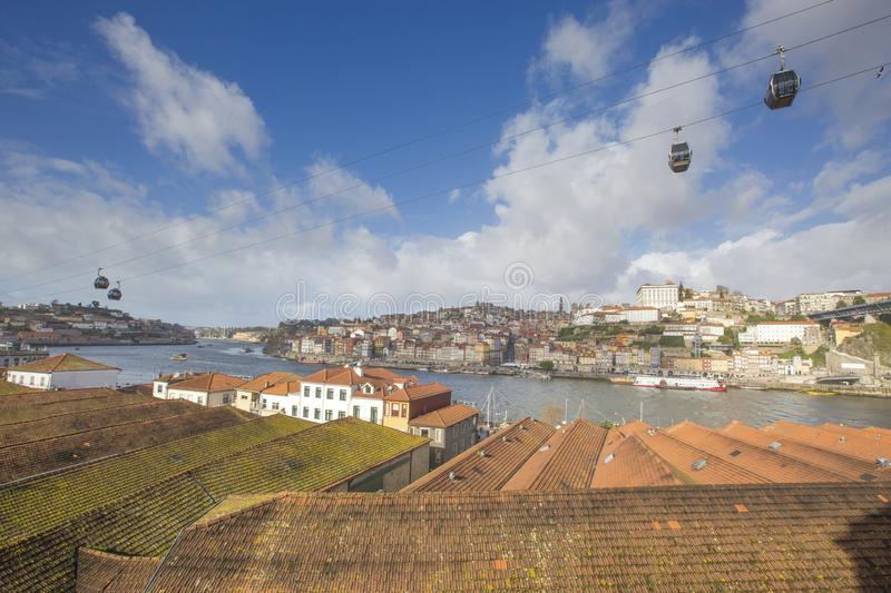 Panoramic view of Old Porto Oporto city and Ribeira, Portugal royalty free stock photo