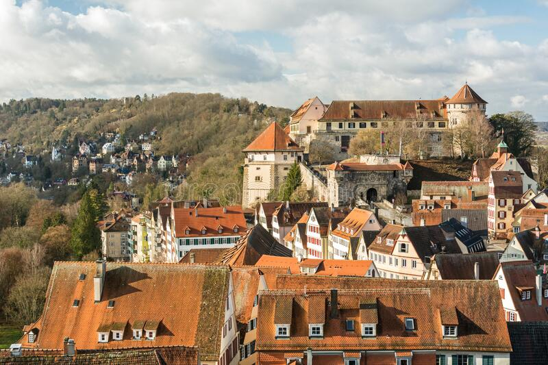 Panoramic view of the old town and castle of a medieval city Tübingen in Southern Germany. Panoramic view of the old town and castle of a medieval Swabian royalty free stock photography