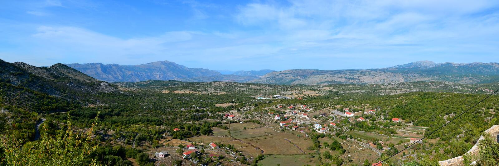Panoramic view from Old Town MedunMedeon near Podgorica, Montenegro. Medun is a settlement located 13 km northeast of the capital Podgorica, Montenegro. The stock photos