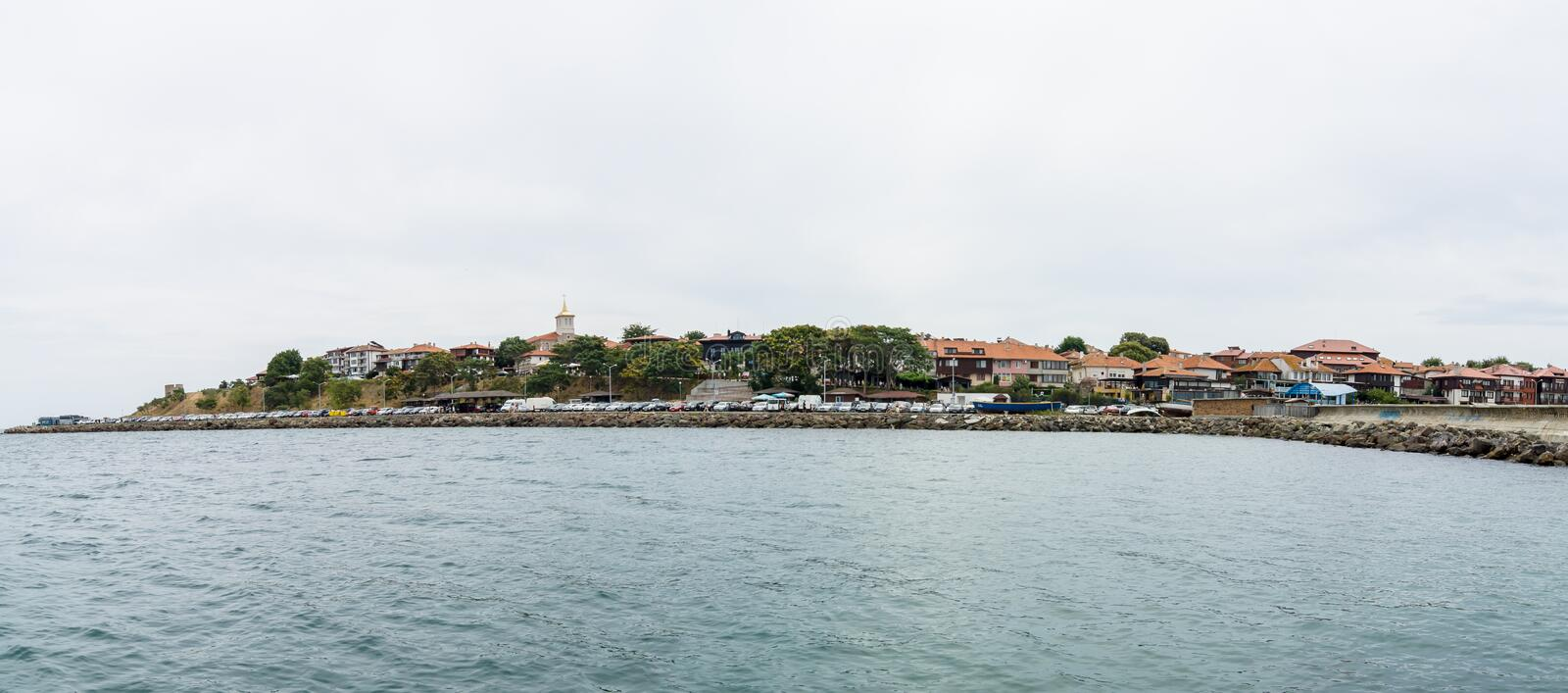 Panoramic view of the old town of Nesebar. royalty free stock images