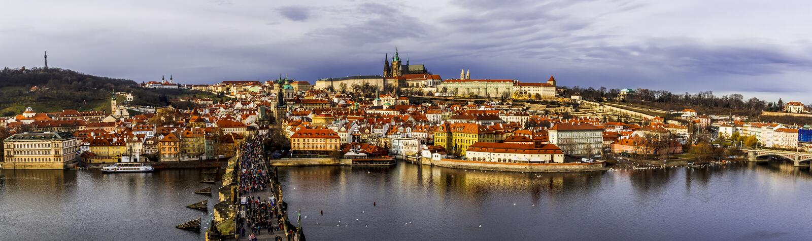 Panoramic view on old town Prague from Bridge Tower. The Old Town of Prague is a medieval settlement of Prague, Czech Republic. It was separated from the outside stock photo