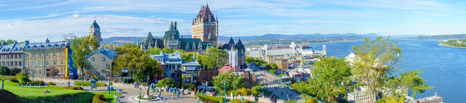 Panoramic view of old town and Saint Lawrence River, Quebec Cit stock photo