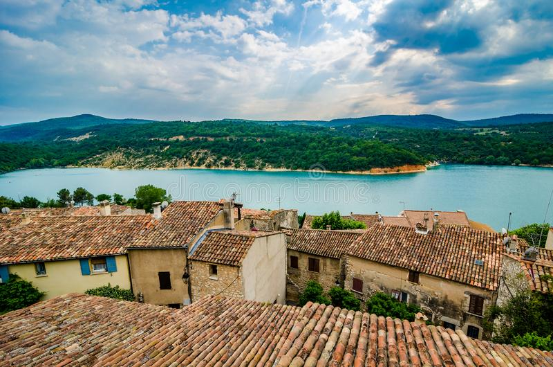 Panoramic view of village Bauduen, France on lake Sainte Croix. Panoramic view of old village Bauduen, France on lake Sainte Croix stock image