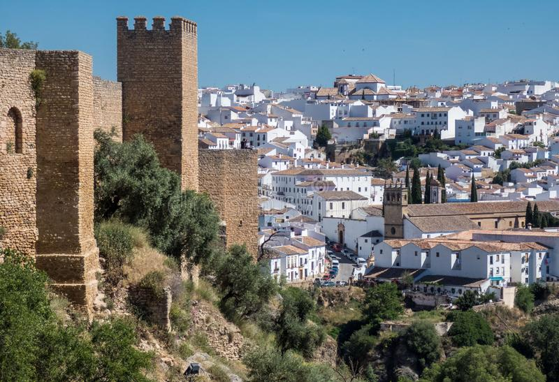 Panoramic view of the old walls and town in Ronda, Malaga province, Andalusia, Spain stock images