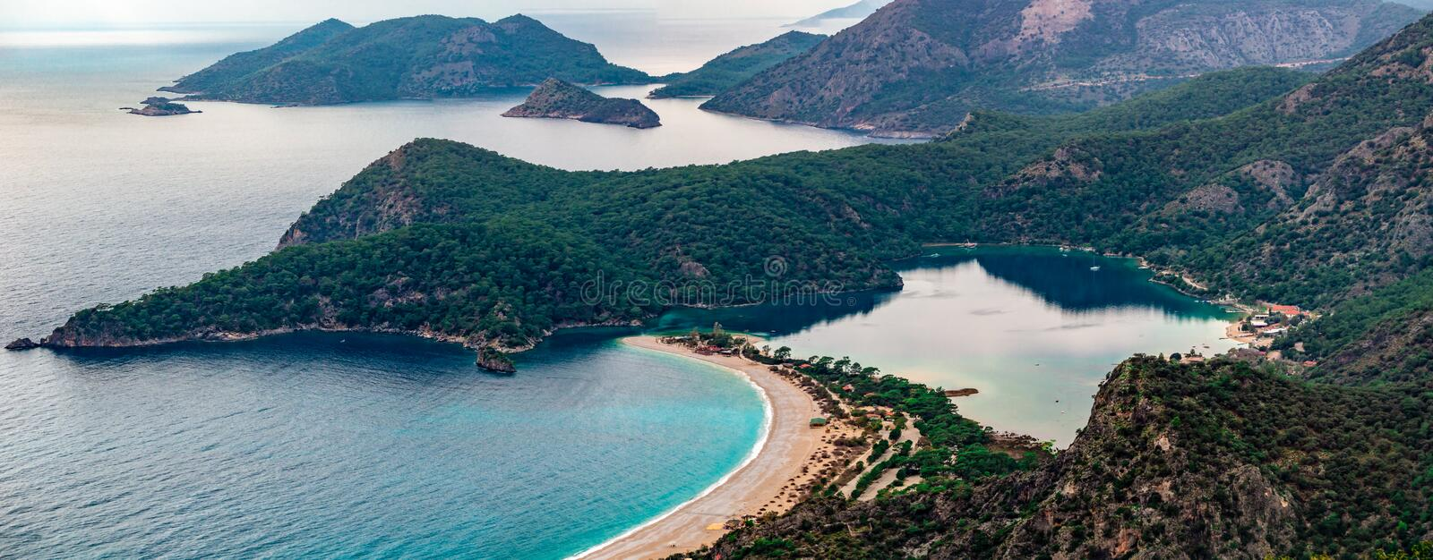 Panoramic view of Oludeniz Beach and bay, Fethiye,  Mugla, Turkey. Aerial Photo from Lycian way. Summer and holiday. Concept stock photo