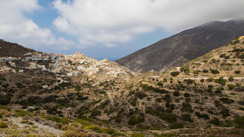 Panoramic view of Olympos in Karpathos island, Dodecanese Greece stock image