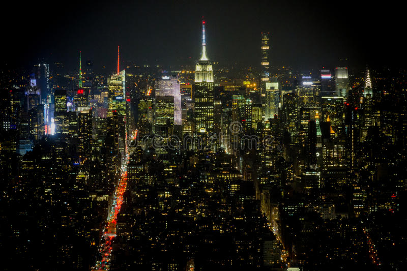 Panoramic view from One World Trade Center at night. royalty free stock images