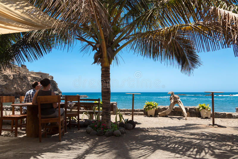 Panoramic view from open air restaurant in Cape Verde royalty free stock images