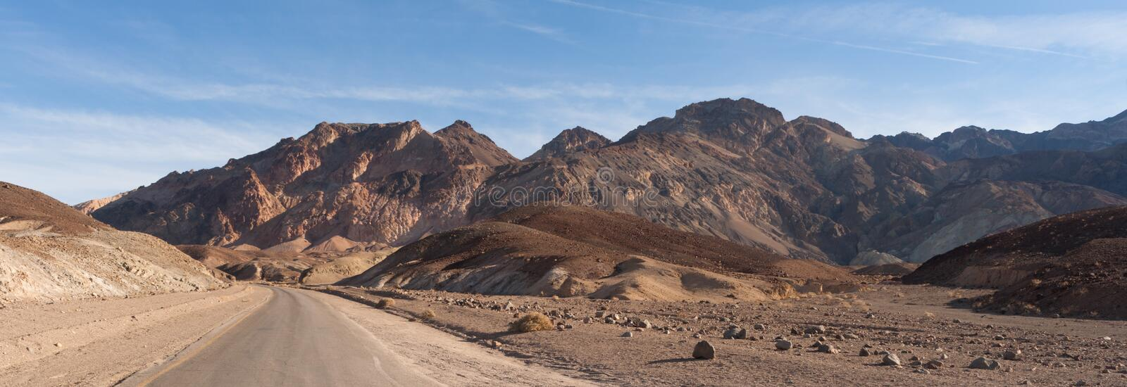 Panoramic View Open Road Death Valley National Park Highway stock photography