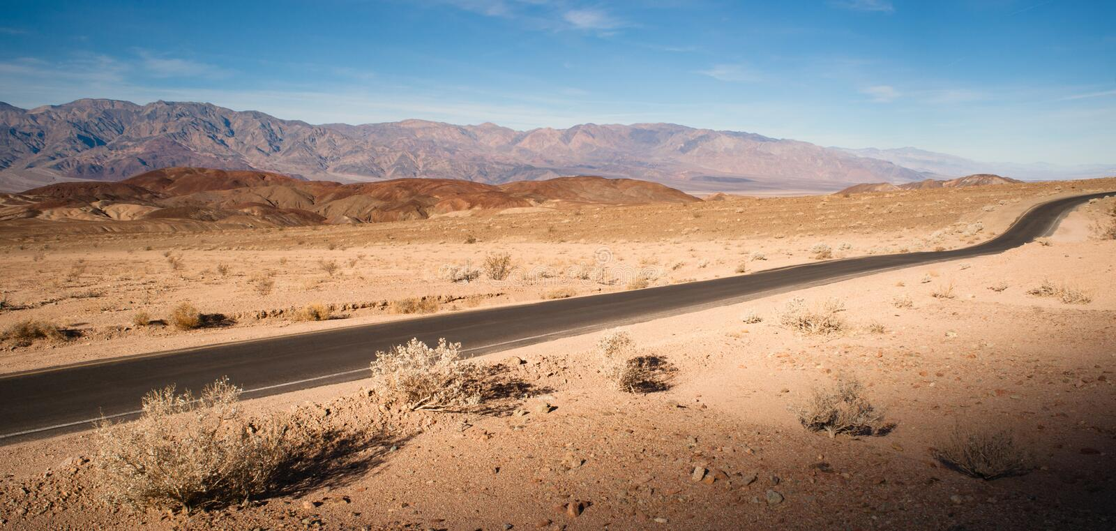 Panoramic View Open Road Death Valley National Park Highway royalty free stock photography