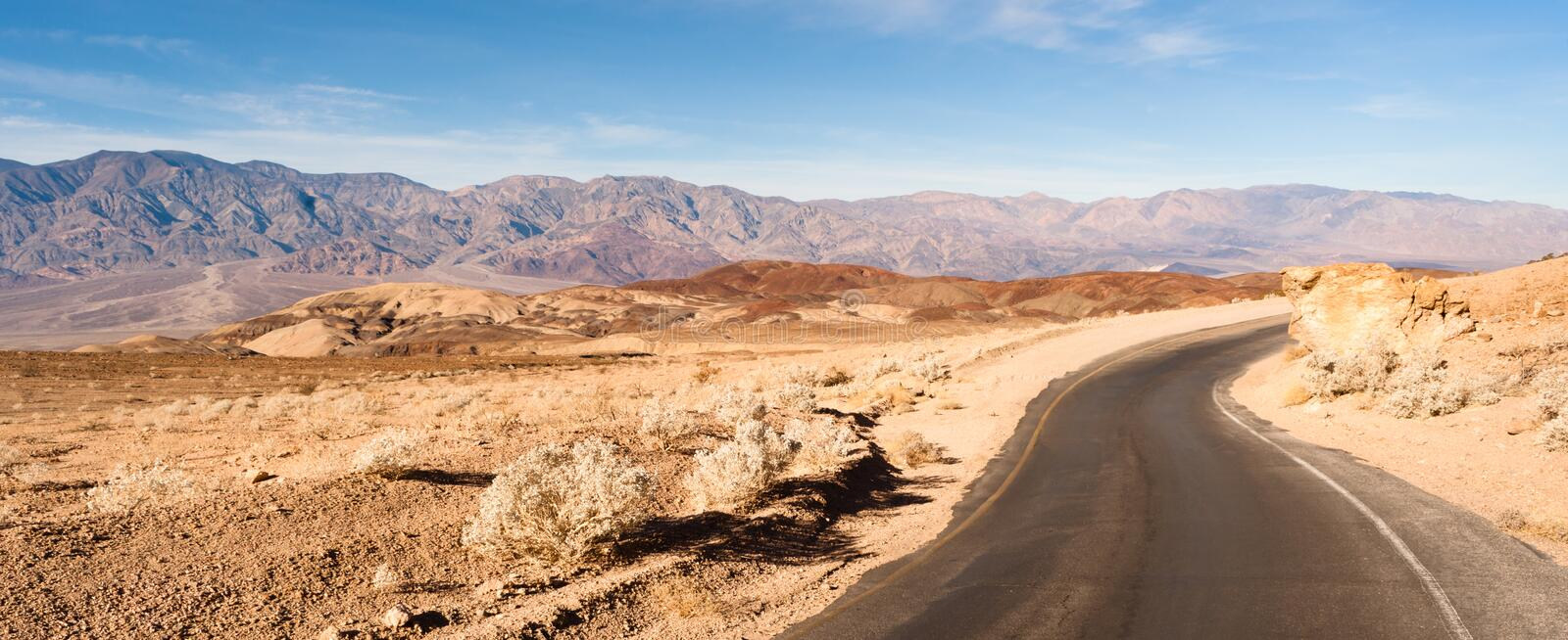 Panoramic View Open Road Death Valley National Park Highway stock photos