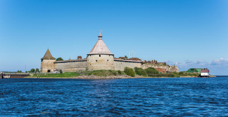 Panoramic view of Oreshek fortress. Oreshek fortress is situated on the small Orekhovy Island in the River Neva's outflow from Lake Ladoga, Leningrad region stock photo