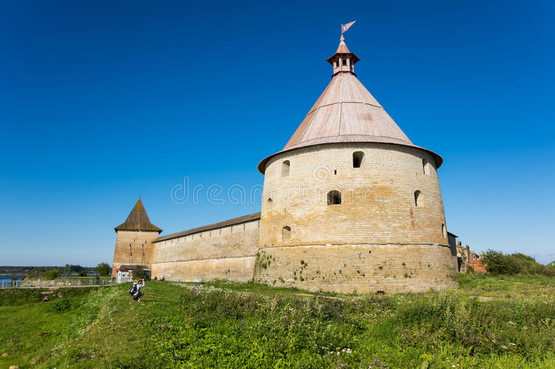 Panoramic view of Oreshek fortress. Oreshek fortress is situated on the small Orekhovy Island in the River Neva`s outflow from Lake Ladoga, Leningrad region stock images