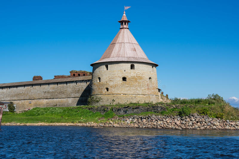 Panoramic view of Oreshek fortress. Oreshek fortress is situated on the small Orekhovy Island in the River Neva`s outflow from Lake Ladoga, Leningrad region royalty free stock images