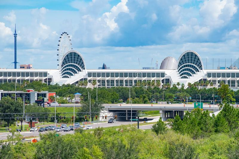 Panoramic view of Orlando Convention Center, Sky Flyer and the Big Wheel 2. Orlando, Florida. July 01, 2019 . Panoramic view of Orlando Convention Center, Sky royalty free stock image