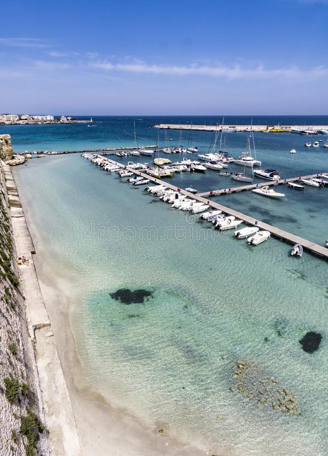 Panoramic view in Otranto, province of Lecce in Salento peninsula, Puglia Apulia, Italy - summer vacations in south Italy royalty free stock photo