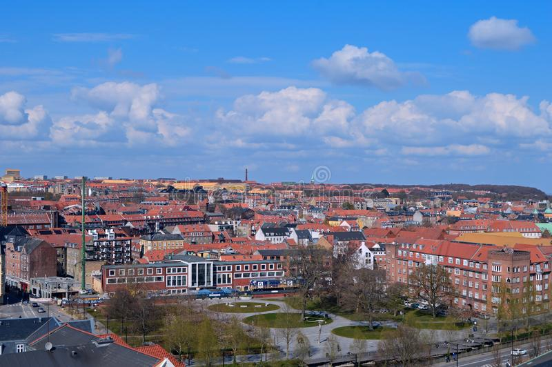 Panoramic view over Aarhus in Danmark. Travel to a Europe under spring, Aarhus in a Denmark.....Panoramic view over Aarhus in Danmark royalty free stock photos