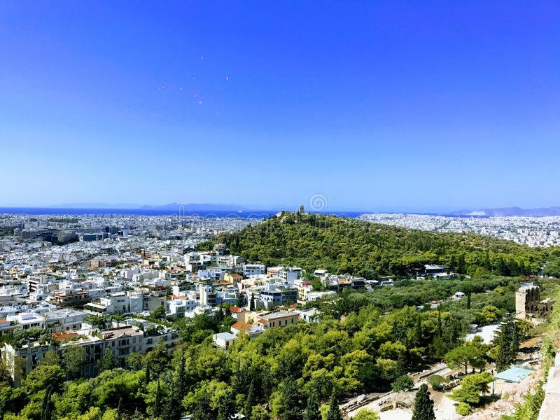 Panoramic View over Athens, Greece royalty free stock images