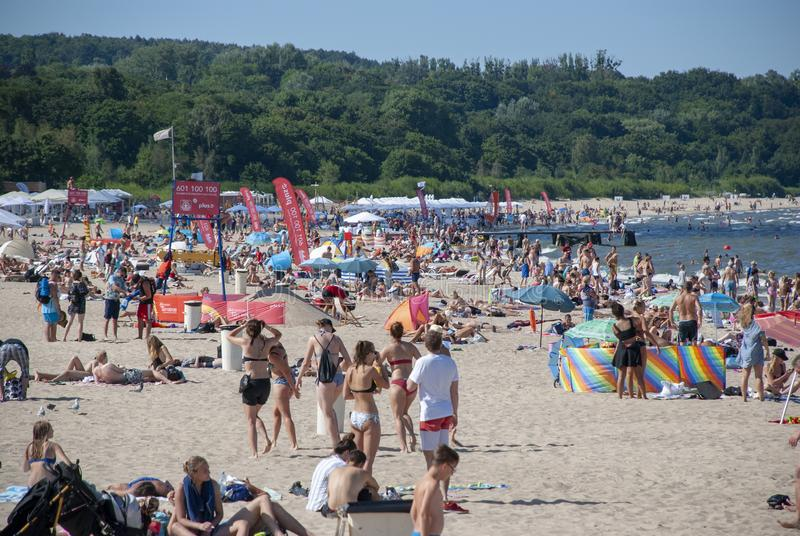 Panoramic view over Baltic Sea beach of Sopot, Poland royalty free stock image