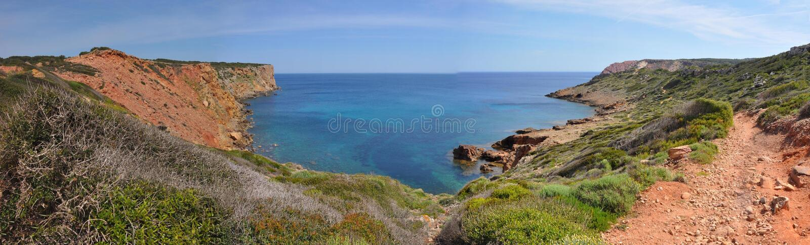 Panoramic view over bay on Spanish island Menorca stock images