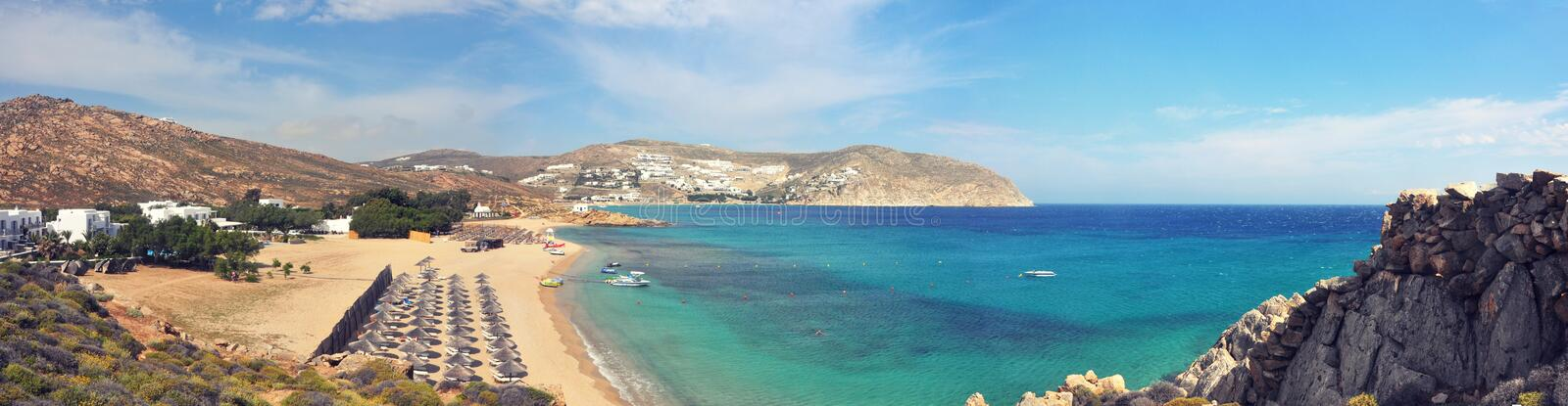 Panoramic view over beach on greek island Mykonos stock image
