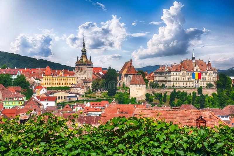 Panoramic view over the cityscape architecture in Sighisoara town stock images