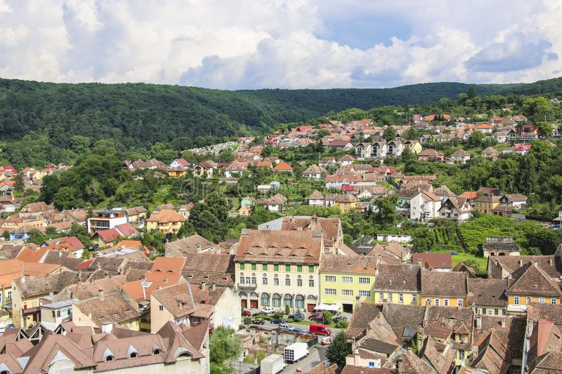Panoramic view over the cityscape and roof architecture in Sighisoara, medieval town of Transylvania, Romania stock photos