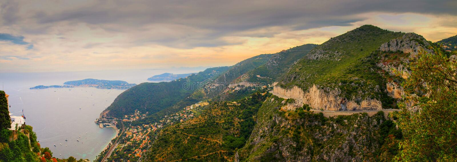 Panoramic view over the coastal line of Cote d`Azure and Mediterranean Sea royalty free stock image