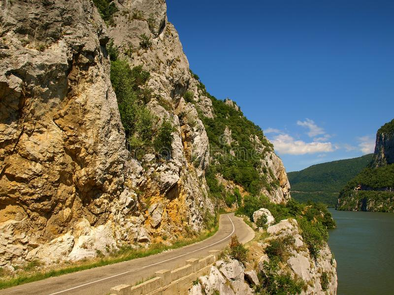 Panoramic view over the Danube river Canyon at Dubova, Romania royalty free stock photo
