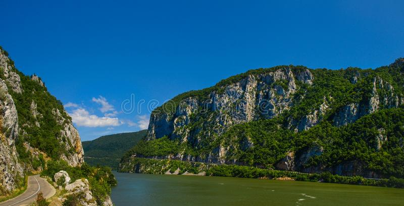 Panoramic view over the Danube river Canyon royalty free stock photo