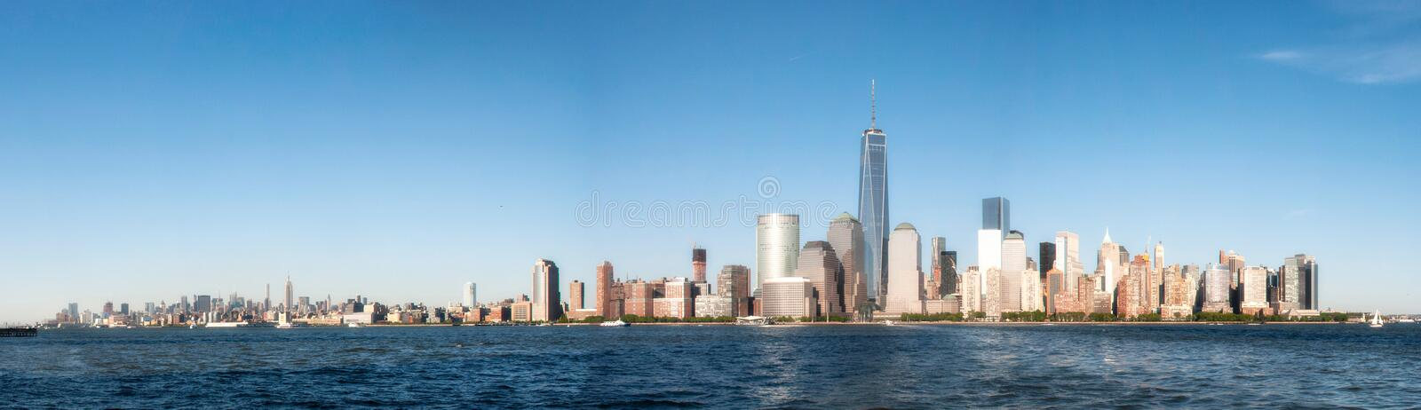 Panoramic view over Hudson River to New York City skyline royalty free stock images