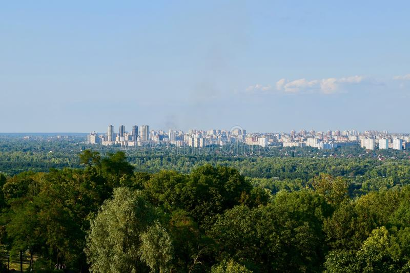 Panoramic view over Kiev Ukraine, from viewpoint. Background stock photos