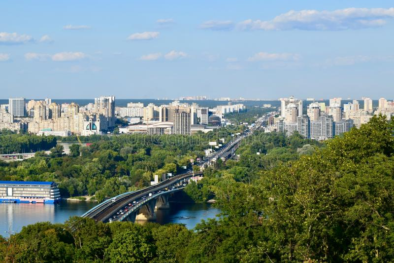 Panoramic view over Kiev Ukraine, from viewpoint. Background royalty free stock photos