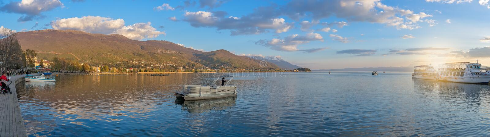 Panoramic view over Lake Ohrid royalty free stock images