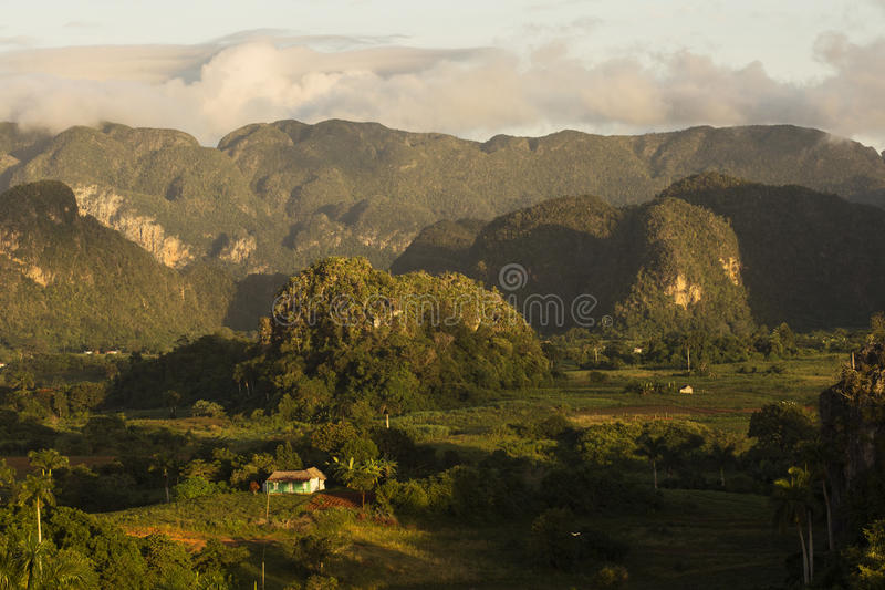Panoramic view over landscape with mogotes in Vinales Valley ,Cuba royalty free stock photos