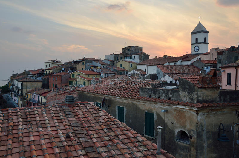 Panoramic view over the medieval city Capolivery in evening, Elba island. royalty free stock photo