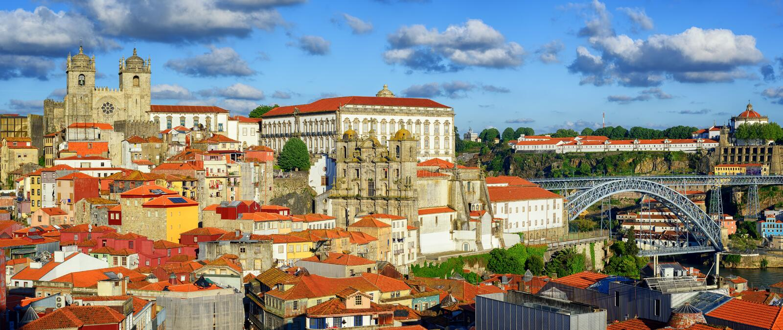 Panoramic view over the old town of Porto, Portugal royalty free stock photo