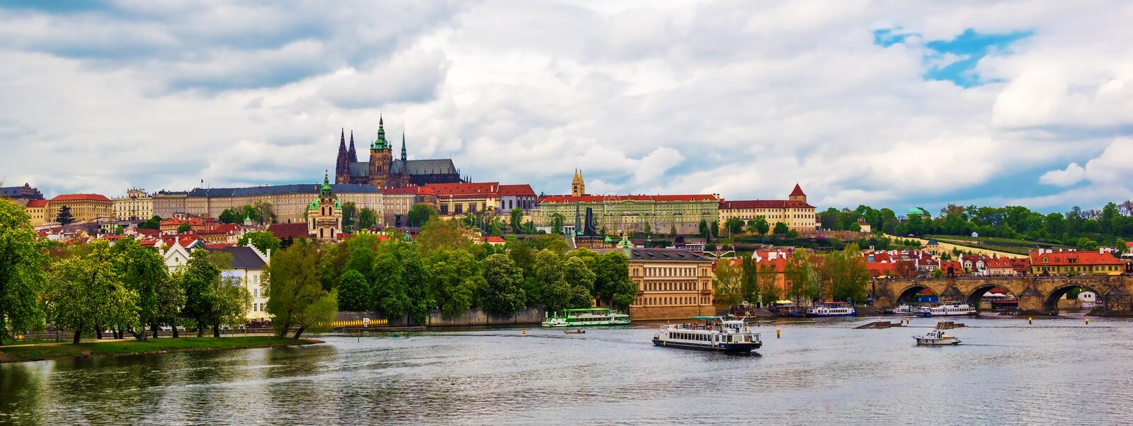 Panoramic view over Prague Castle with the St. Vitus Cathedral stock photo