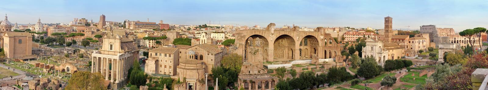Landmark attraction in Rome: Roman Forum. Panoramic view over Rome, Italy royalty free stock photos