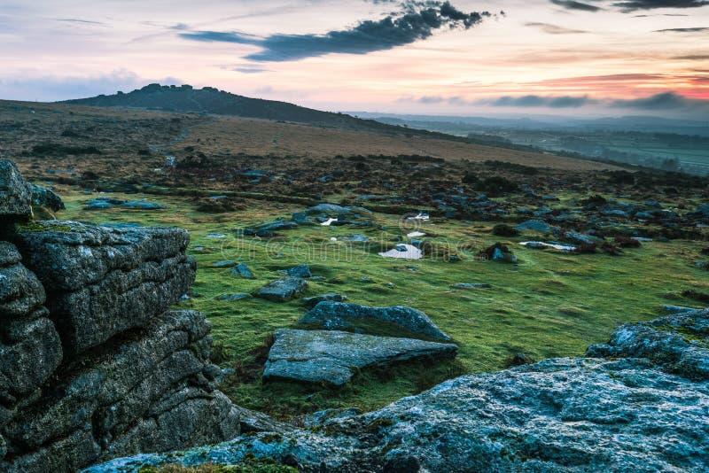 Panoramic view over sunset in Dartmoor, UK royalty free stock image