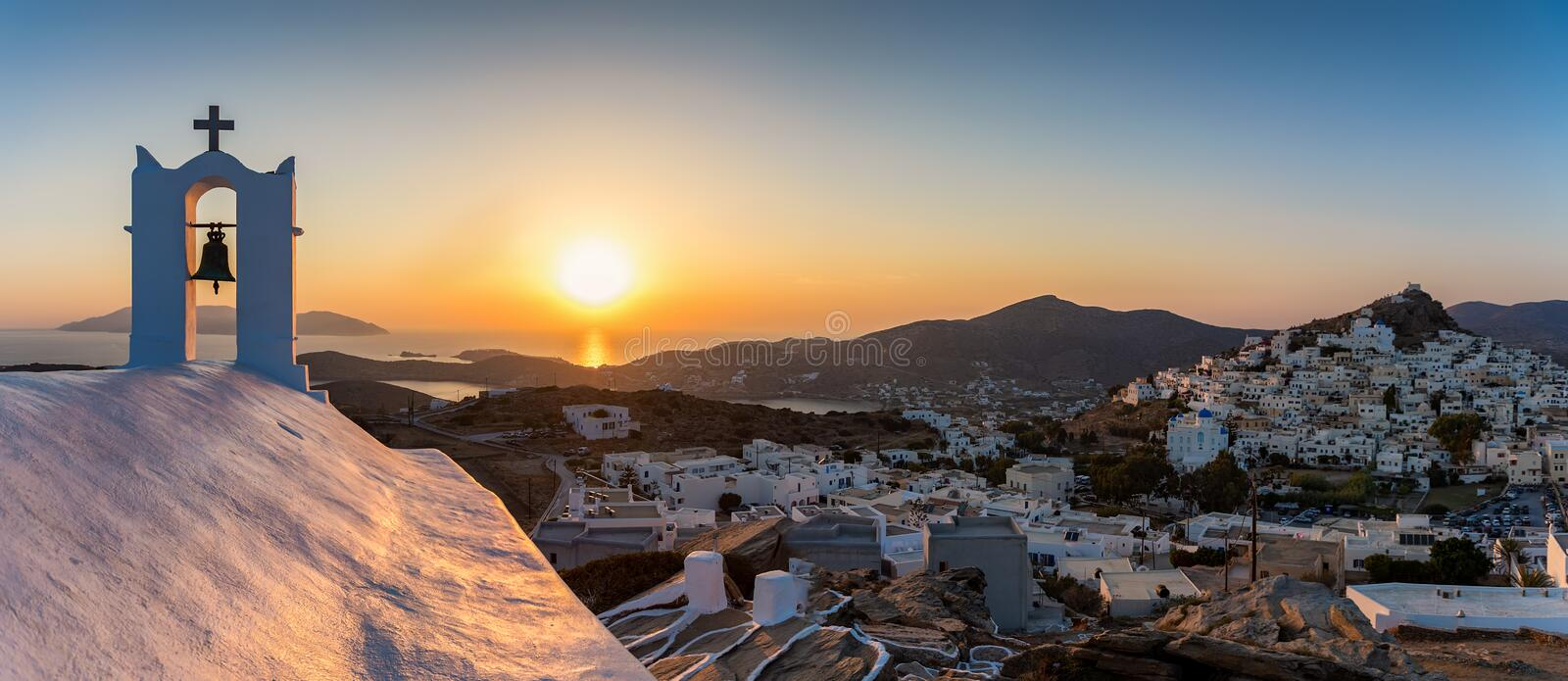 Panoramic view over the town of Ios island during sunset time royalty free stock images