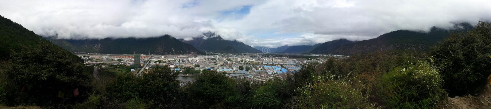 Panoramic view overlooking the nyingchi bayi town stock image