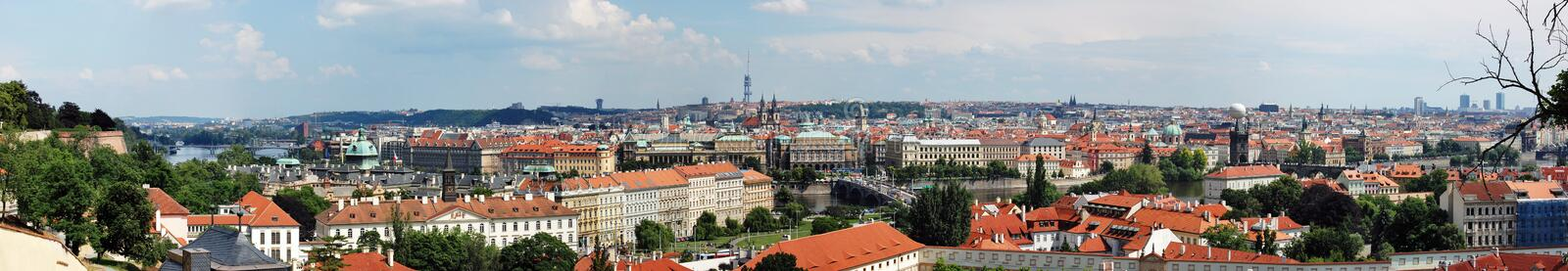 Panoramic view overlooking Prague royalty free stock photography